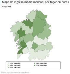 #Galicia: Ingreso Medio Mensual por Hogar en Euros 2011