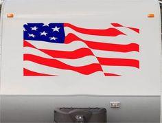 USA Flag Stars and Stripes RV Camper 5th Wheel Motorhome Vinyl Decal Sticker Graphic Custom Text Mural us002