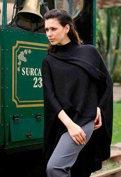 Alpaca Wool Solid Black Wrap Ruana - Bold Black | NOVICA