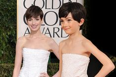 Hilariously Strange Kid Versions Of Celebrities At The Golden Globes- mini Anne Hathaway