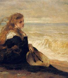 George Elgar Hicks, On the Seashore (1879)