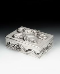 Sterling silver cigar box. Chinese. c. 1925