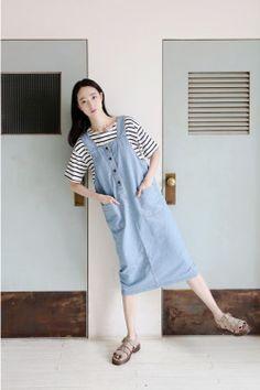 >_< Girl Korea, Korean Dress, Korean Girl, Korean Style, Korea Fashion, Overalls, Normcore, Clothes, Dresses