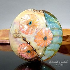Peach Poppies Lampwork  lentil shape focal by AstridRiedel on Etsy