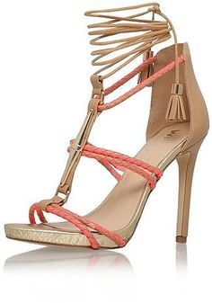 Womens coral geranium high heel sandals by miss kg from Topshop - £90 at ClothingByColour.com
