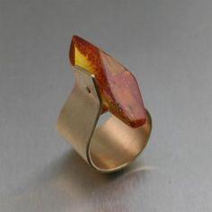 Ring | John Brana.  Bronze with Honey Amber