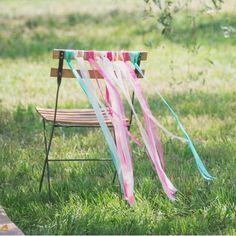 Dekoration Stuhl Ribbon Fuchsia und Minze für die Ehe, Band Hochzeit Stuhl Dekoration