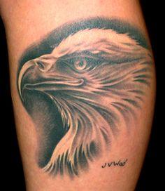 BLACK AND GREY EAGLE PORTRAIT TATTOO | durbmorrison.com