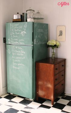 1. Sand the fridge a little 2. Buy some chalkboard paint 3. Brush/roll it on (I did a little of both) 4. Let it dry for three days 5. Rub chalk all over it and wipe