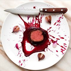 Hannibal inspired dish w/ beef tenderloin, dark chocolate demi glace, beet puree and onion #TheArtOfPlating