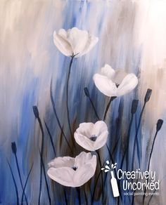 Pretty Acrylic Image that was the sample for a painting party - fun! White Poppies | Creatively Uncorked | http://creativelyuncorked.com/