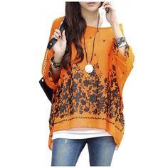 Lady Batwing Sleeve Floral Prints Semi Sheer Chiffon Oversize Shirt ($22) ❤ liked on Polyvore featuring tops, blouses, floral shirt, bat sleeve shirt, floral print blouse, oversized shirt and floral collared shirt