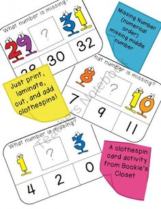 What number is missing - numerical order (middle number missing) numbers 1-30 clothespin activity cards #clothespinactivity #numberactivity #specialeducation
