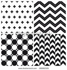 set of geometric pattern background - stock vector