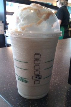 "a recipe for the Starbucks Butterbeer - to get one, order as ""grande caramel frappacino with one pump frappacino roast and one pump toffee nut"""
