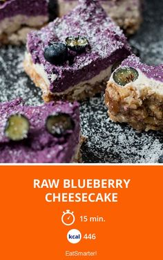 Raw Blueberry Cheesecake - frischer, sommerlicher Cheesecake ohne Zucker   Kalorien: 446 Kcal - Zeit: 15 Min.   eatsmarter.de
