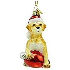 """3.5"""" Noble Gems Yellow Labrador Retriever with Retro C7 Bulb Glass Christmas Ornament Check out my site for more!"""