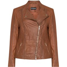Samoon Brown Plus Size Quilted leather jacket ($255) ❤ liked on Polyvore featuring outerwear, jackets, brown, plus size, zipper jacket, zip jacket, brown jacket, long sleeve jacket and plus size jackets