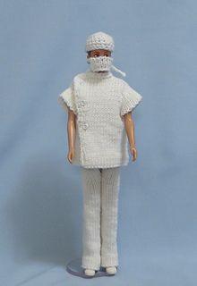 Ravelry: No. 1002 Doctor's Uniform, Cap and Mask pattern by Hilde Fuchs Barbie Crochet Gown, Crochet Barbie Clothes, Barbie Dress, Barbie Doll, Barbie Knitting Patterns, Barbie Clothes Patterns, Clothing Patterns, Diy Ken Doll Clothes, Handmade Clothes
