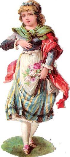Oblaten Glanzbild scrap die cut chromo Dame femme lady Kind child