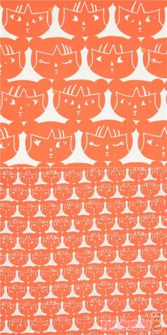 Made in Japan, cream fabric with faces of little girls in orange, very high quality fabric, typical great Alexander Henry quality, Material: 100% cotton #Cotton #Children #USAFabrics Alexander Henry Fabrics, Echino, Modes4u, Indochine, Japanese Fabric, Girl Face, Little Girls, Kawaii, Orange