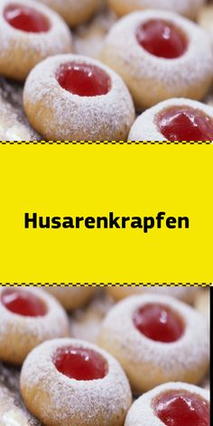 Husarenkrapfen - Today I have a hussar donut recipe for you! They are also known under the name Engelsaugen Kullerau - Oatmeal Recipes, Donut Recipes, Cookie Recipes, Dessert Recipes, Great Desserts, Vegan Desserts, Bienenstich Recipe, Cherry Muffins, Cannelloni Recipes