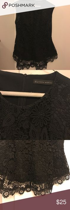 Zara Women's Lace Top Size large, but fits tighter like a M/L. Lace overlay hangs down over the bottom. SO CUTE ON!! Zara Tops Blouses