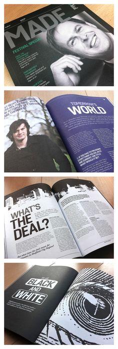 Sample spreads from the 'MADE: The Entrepreneur Festival' magazine