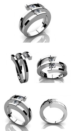 Two Round Cut Diamonds Anniversary Ring in 14 kt White Gold