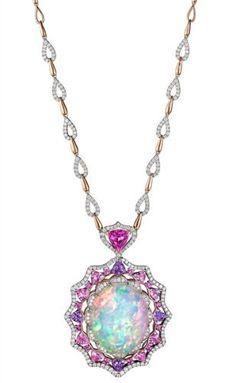 Spark pink sapphire-framed opal pendant More
