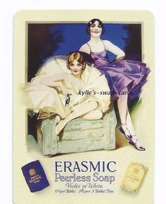 Theme: ballerina ladies advertising Violet and White Erasmic soap. Quantity: 1 x single swap playing card (not deck of cards) You can now combine all purchases with our sister store kylie's*swap*cards*