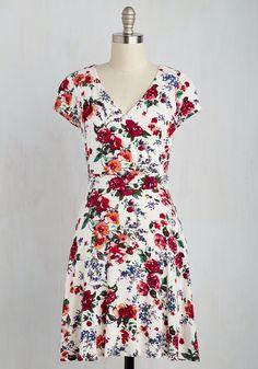 White Floral Skater Dress // Red Bow Dress