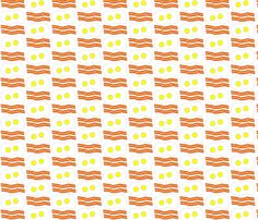 Dean's Bacon and Eggs on White fabric by midcoast_miscellany on Spoonflower - custom fabric