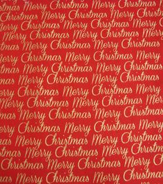 Holiday Inspirations Fabric-Christmas Merry Christmas Red Metallic