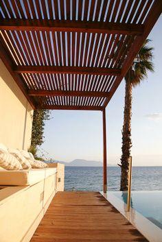 Pool built in sofa and pergola - West Greece villa rental Built In Sofa, Building A Pool, Outdoor Living, Outdoor Decor, Ideal Home, Condo, Greece, Pergola, Villa