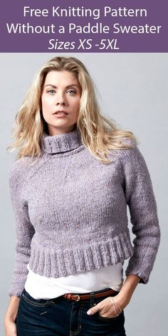 Free Sweater Knitting Pattern Without a Paddle Sweater - Cropped pullover sweater knit in the round from the bottom-up—no extra seams required. The clever placement of decreases at the yoke turns the shaping into a design feature. Sizes XS - 4/5 XL. Bulky weight yarn. Designed by Sugar Bush Yarns.
