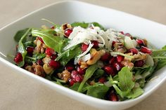 This Pomegranate Arugula Salad is the perfect healthy substitute for all of those sweet treats floating around this time of the year. Pomegranate seeds
