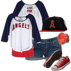 """""""Angel Baseball outfit"""" by sandreamarie on Polyvore...if i went to a game wit my boyfriend who is an Angels fan"""