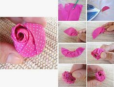 Making a simple rose bulb can be really fun and exciting. All you need is the fabric, pencil and an iron to help you along. Ribbon Art, Diy Ribbon, Ribbon Crafts, Flower Crafts, Fabric Crafts, Sewing Crafts, Felt Flowers, Diy Flowers, Fabric Flowers