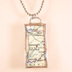Indiana Map Pendant $20