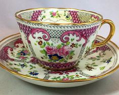 "Adderley ""Lowestoft Pattern"" Widemouth Pink Teacup and Saucer"