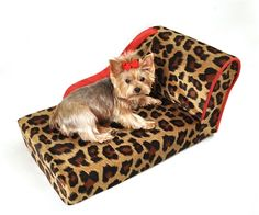 Leopard with Sangria Trim Pet Chaise Lounge Bed