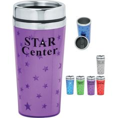 Sixteen ounce Shining Star travel mug / travel tumbler with double wall thermal insulated with stainless steel liner, chrome accent top and sipping slider lid. Fits most automobile cup holders. Custom Travel Mugs, Porcelain Mugs, Shining Star, Cup Holders, Black Bear, Sliders, Tumbler, Automobile, Chrome