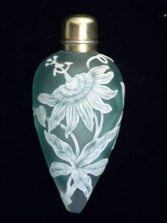 *Antique Gorham ,Sterling Silver , Thomas Webb ,Cameo Glass  Perfume Bottle 'Passion'