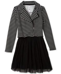 Beautees Girls' 2-Piece Striped Jacket & Solid Dress Set