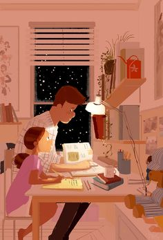 Home works.  #pascalcampion #Father #Daughter Trying to help my daughter learn how to study these days.... this image is so much nicer than the reality of it... I'll admit that.