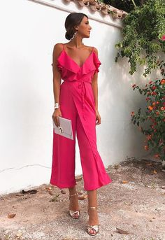 Sleeveless Jumpsuits Sexy Fashion Rose Sleeveless Jumpsuits - Jumpsuits and Romper Jumpsuit Dressy, Jumpsuit Outfit, Summer Jumpsuit, Black Jumpsuit, Evening Outfits, Evening Dresses, Vestidos Color Naranja, Elegante Jumpsuits, Making A Wedding Dress