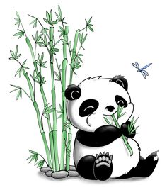 Panda Eating Bamboo by artshell on DeviantArt Panda Drawing Easy, Bear Drawing, How To Draw Panda, Bamboo Drawing, Bamboo Art, Cute Panda Wallpaper, Cartoon Wallpaper, Cute Panda Cartoon, Panda Painting