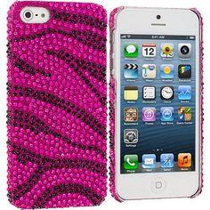 Black / Hot Pink Zebra Bling Rhinestone Case Cover for Apple iPhone 5 / 5S