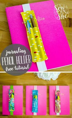 DIY-Journaling-Lesezeichen (und Bleistifthalter) kostenloses Näh-Tutorial DIY journaling bookmark (and pencil holder) free sewing tutorial Sewing Projects For Beginners, Sewing Tutorials, Sewing Hacks, Sewing Crafts, Sewing Tips, Tutorial Sewing, Sewing Basics, Sewing Ideas, Scrap Fabric Projects